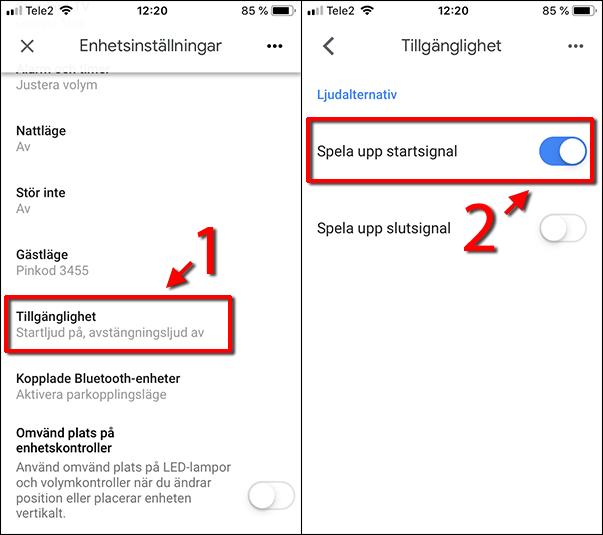 Google Home - Tillgänglighet - Spela upp startsignal - Slutsignal