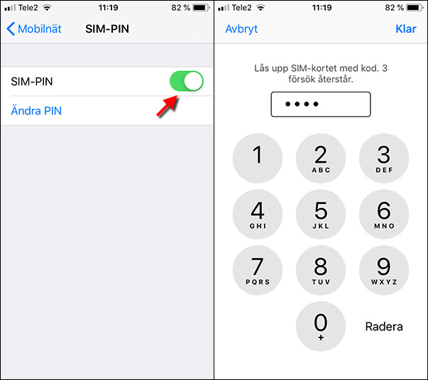 iPhone - SIM - Pin - Ändra pinkod - Lås upp