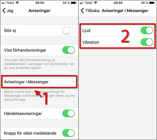 Stäng av ljudet - Messenger - Aviseringar - Ljud - Vibration - iPhone
