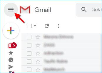 Gmail - Återställa meny