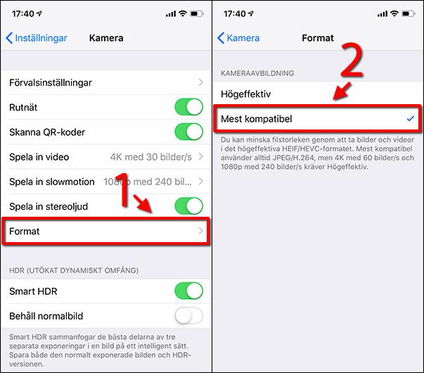 iPhone - Kamera - Format - Mest kompatibel - HEIC - JPEG