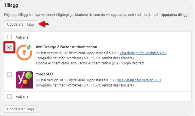 Uppdatera endast ett tillägg - plugin - WordPress
