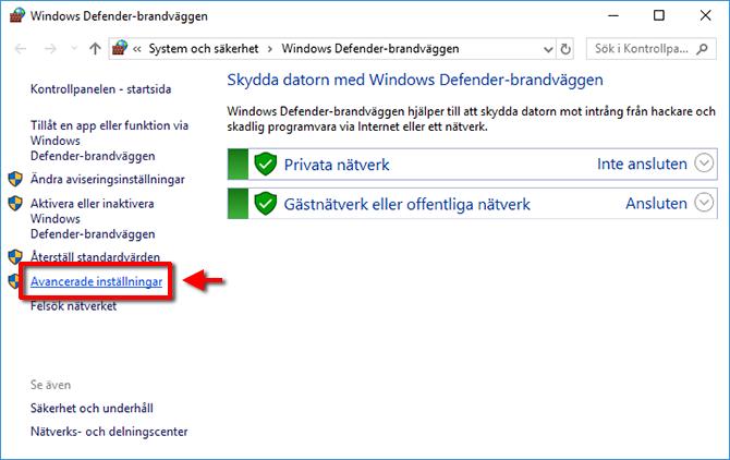 Windows Defender - Avancerade inställningar - Fallout - Skyrim