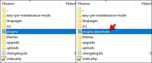 WordPress - Plugins - Deactivate - Stäng av alla plugins - Tillägg