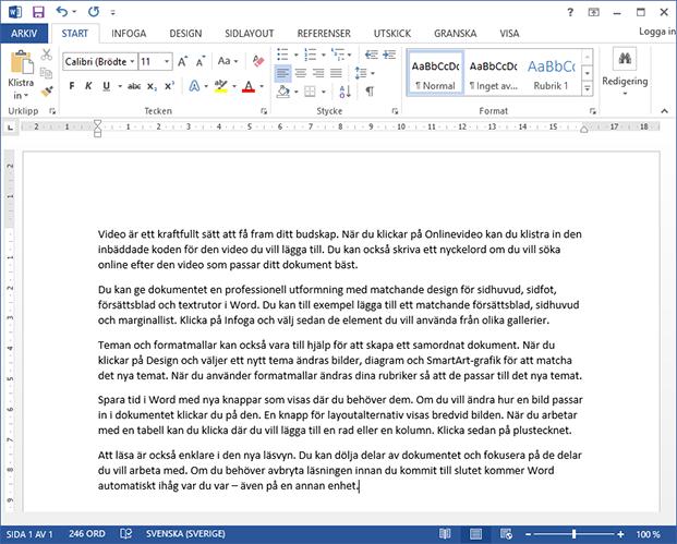 Använd rand - Skapa plattshållartext - Utfyllnadstext - Word