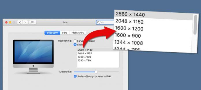 Se alla upplösningar på en Mac-dator - Ändra