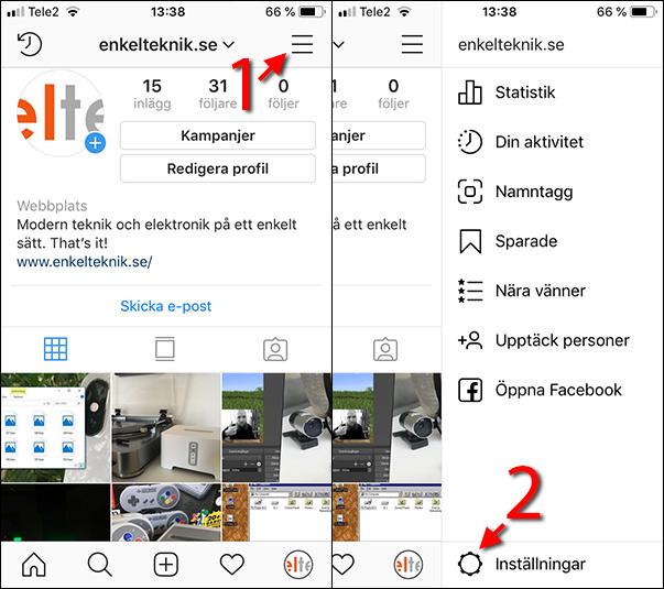Instagram - Profil - Inställningar - Se sparade uppgifter