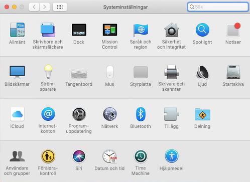 macOS - Apple - Systeminställningar