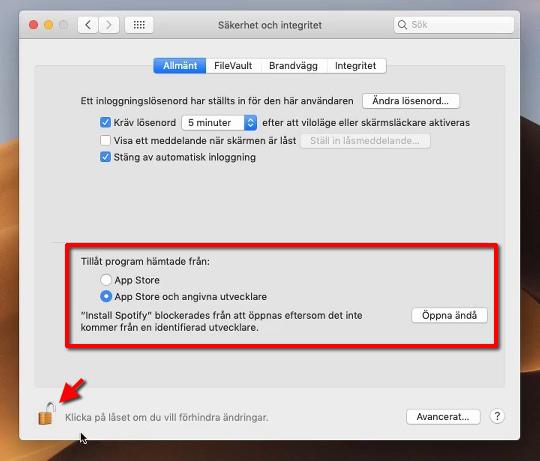macOS - Säkerhet och Integritet - Öppna - Ändra - Tillåt