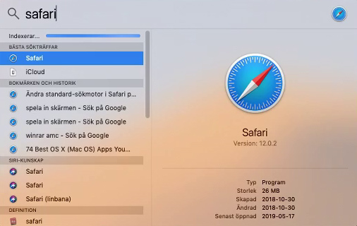 macOS - Spotlight - Sök - Safari