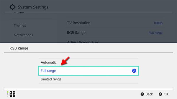 Nintendo Switch - RGB Range - Full range