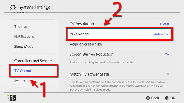 Nintendo Switch - TV Output - RGB Range - Automatic