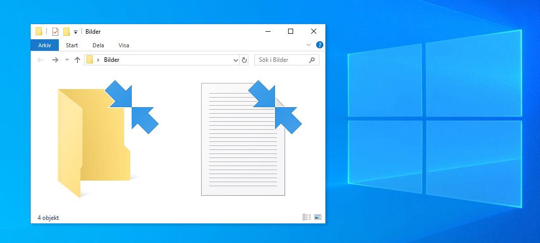 Ta bort blåa pilar vid ikoner i Windows 10