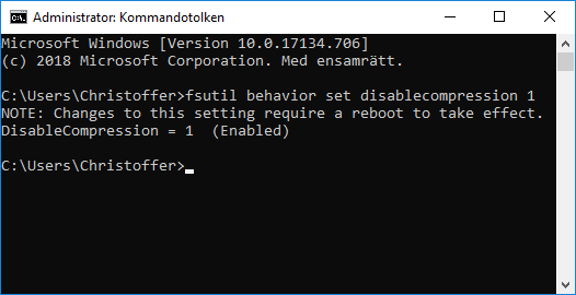 Windows 10 - disablecompression 1