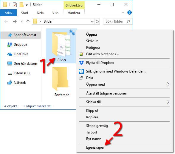 Windows 10 - Egenskaper - Högerklicka - Blå pilar - Ikoner