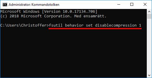 Windows 10 - Stäng av komprimering av filer och mappar
