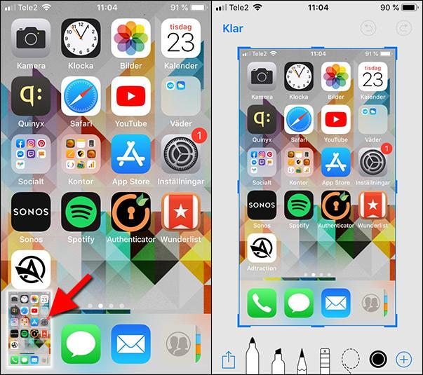 iPhone 8 - Print Screen - Skärmdump - Redigera tagen bild