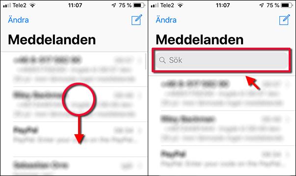 Meddelanden - iPhone - Sök - SMS - Sökfältet