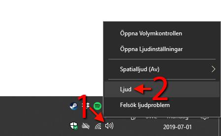Volymkontrolljud - Stäng av - Ding - Windows 10