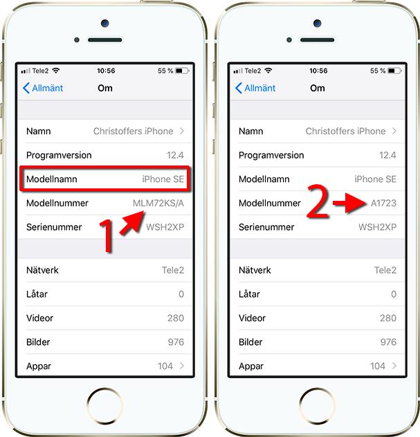 iPhone - Modellnamn - Modellnummer - Ta reda på