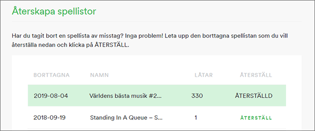 Spotify - Radera spellista - Återställd