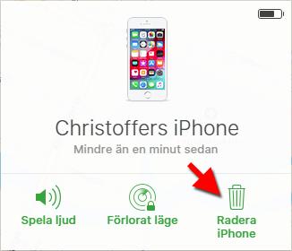 iCloud - Hitta min iPhone - Radera - Avaktiverad