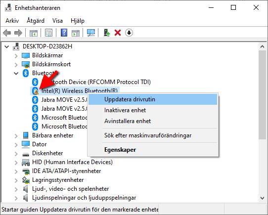 Intel Wireless Bluetooth - Uppdatera drivrutin - Slutat fungera