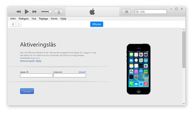 iPhone aktiveringslås - iTunes