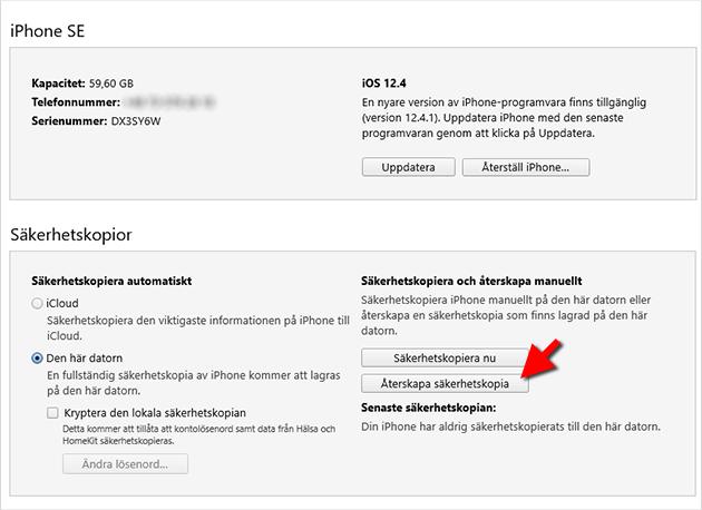 iPhone - Återskapa - Säkerhetskopia - iTunes