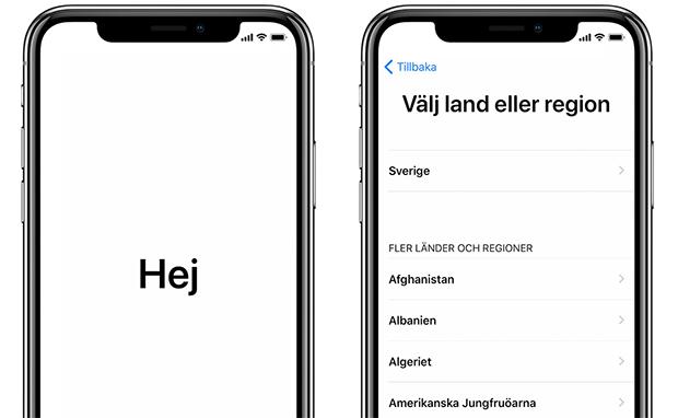 iPhone - Hej - Hello - Välj land eller region