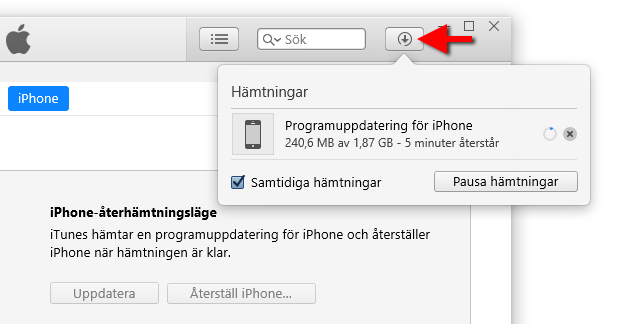 iTunes - Återställ - Återskapa - iPhone - Disabled