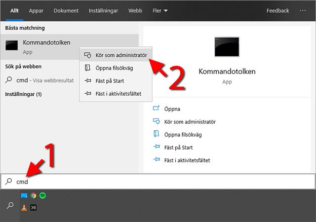 Kommandotolken - Kör som administratör - Windows 10 - Bluetooth