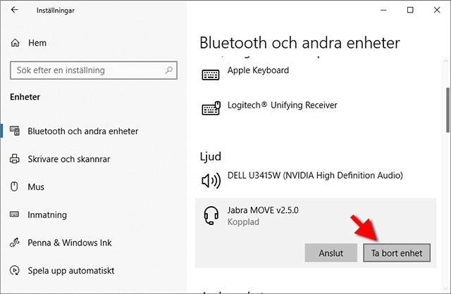 Windows 10 - Bluetooth - Ta bort enhet
