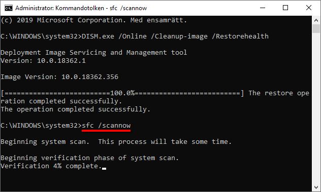 Windows 10 - sfc scannow - Fixa Bluetooth problem