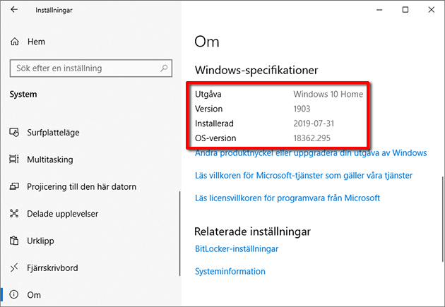 Windows-specifikationer - Version - OS-version - Build