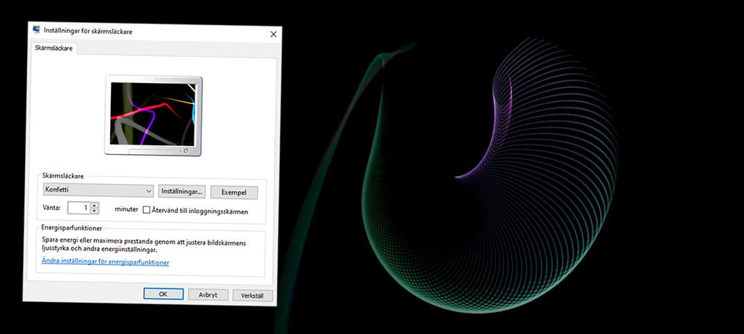 Vart finns skärmsläckaren i Windows 10