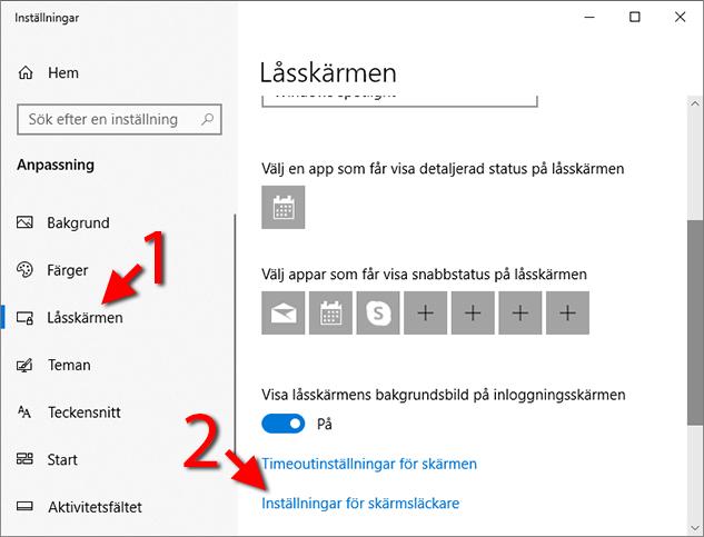 Windows 10 - Anpassning - Låsskärmen - Skärmsläckare