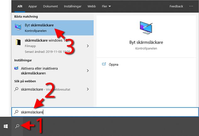 Windows 10 - Byt skärmsläckare