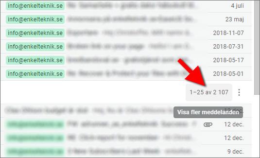 Gmail - Visa fler meddelanden