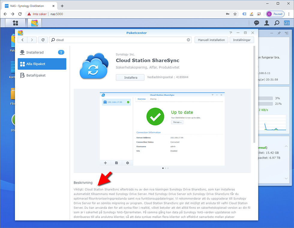 Synology DSM - Cloud Station Server