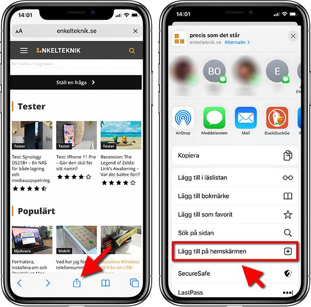 iPhone - iPad - Safari - Lägg till länk på hemskärmen