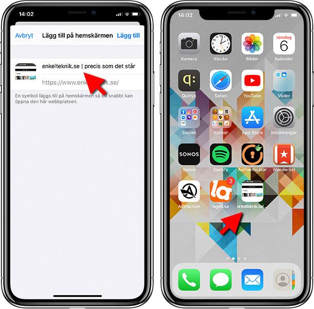 Lägg till på hemskärmen - Ikon - iPhone - iPad