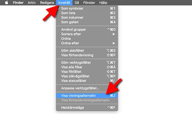 Finder - Mappar - Innehåll - Visa visningsalternativ - Rutnät - Sortera
