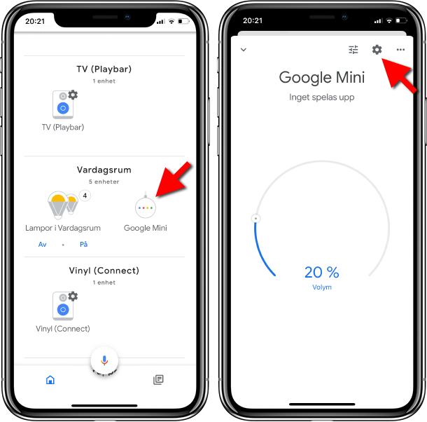 Ändra standardhögtalare för Google Home - Google Assistent