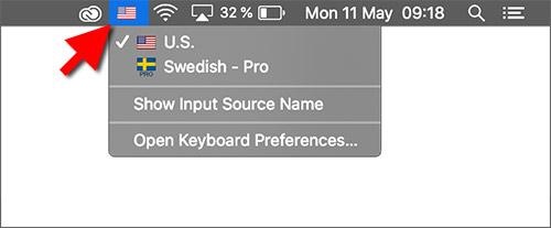 Byt tangentbordsspråk - macOS - Svenska tecken