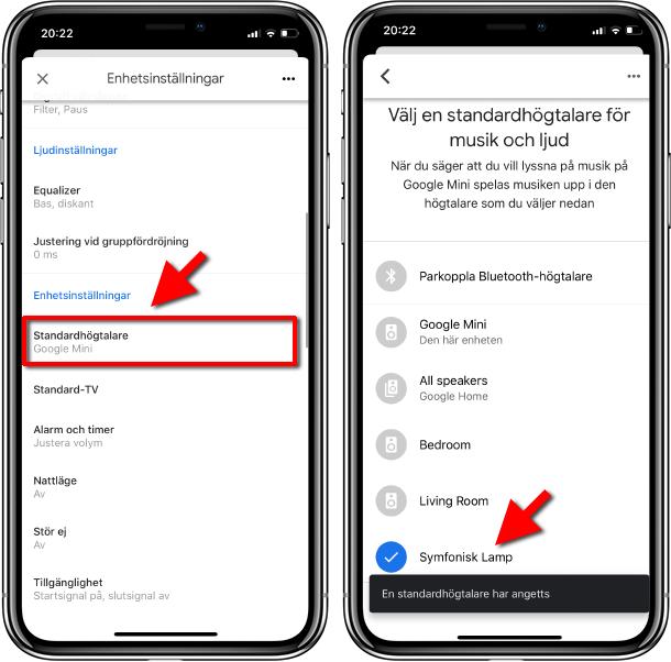Google Home - Standardhögtalare - Välj automatiskt