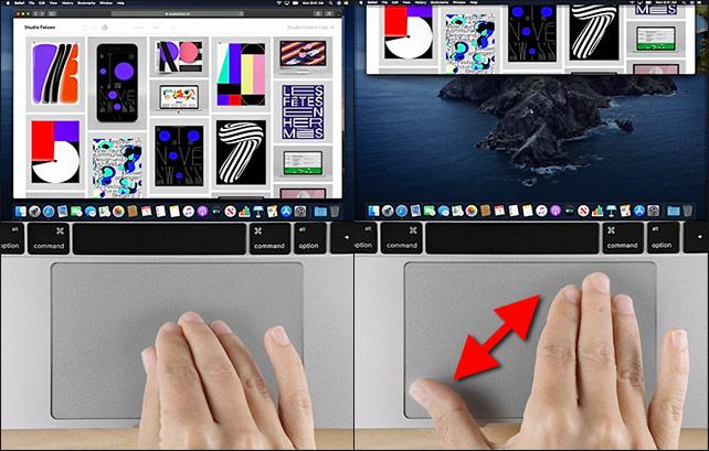 macOS - Visa skrivbordet - Gester - Touchpad