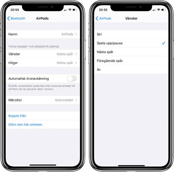 iPhone - AirPods gen 2 - Recension - Inställningar