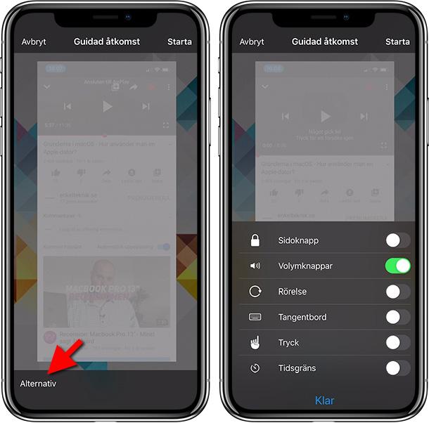 iPhone - Guidad åtkomst - Stäng av touch - Lås app
