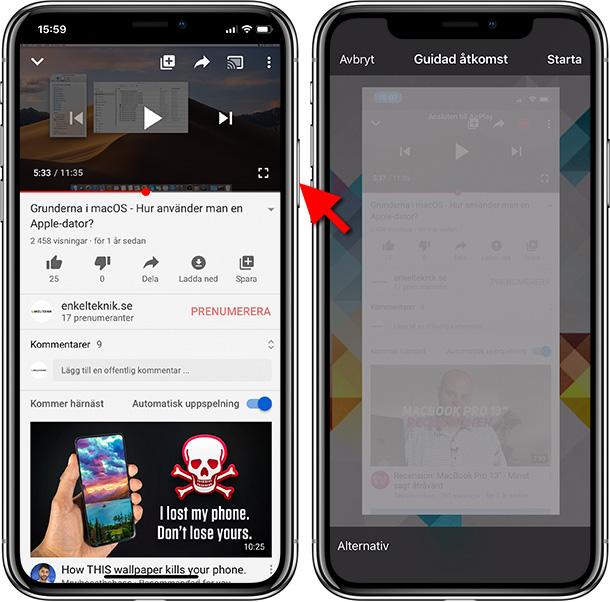Lås skärmen på iPhone - Guidad åtkomst